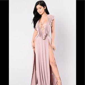 New Blush Lace Up V Ruffled Double Slit Maxi Dress